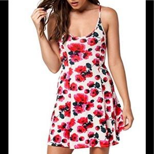 Billabong sundress floral white and hot pink mini
